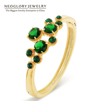 Neoglory Green CZ Stone Bracelets & Bangles Charm Jewelry for Women  Gold Plated Rhinestone Bijoux Wholesale 2017
