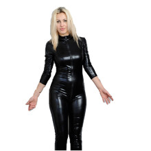 Buy Women Clothing Black Latex Erotic Catsuit Zip Front Faux Leather Sexy Costume Bodycon Jumpsuit Clubwear Bodysuit W7904