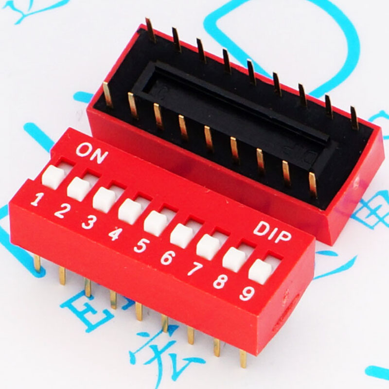 Nine red dial the code switch DS - 09 - dial switch toggle switch pin pitch 2.54 MM<br>