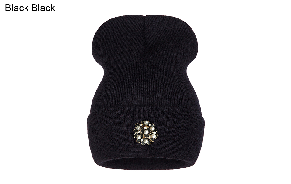 Ralferty Winter Hats For Women Flower Beanies Skullies Female bonnet femme gorros cappelli Cap Beanie gorra Black Acrylic Hat 9
