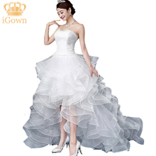 New!!Ivory Color Ruffles Princess Wedding Dress Short Front Long back Wedding Dress Court Train Wedding Dress  H180