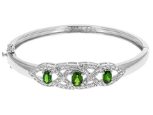 1.49ctw Oval Russian Chrome Diopside With 1.81ctw Round White Zirconia Silver Hinged Bangle Bracelet