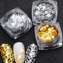 Nail Art Decorations Laser Silver Dazzling Mixed 1/2/3mm Round Slice Paillettes Spangle 3d Nail Sticker Beauty Glitter