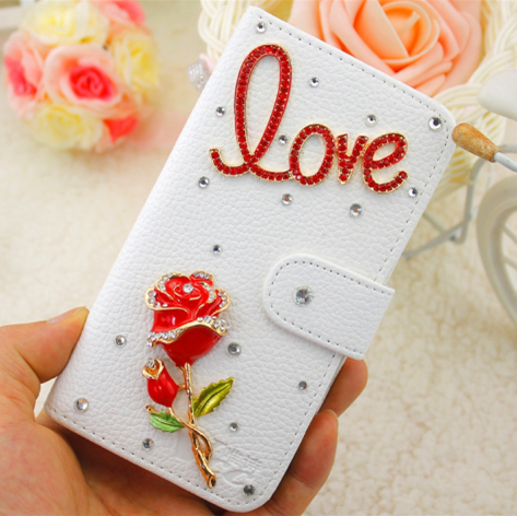 Red rose White PU embossed leather font b case b font for htc for iphone 6