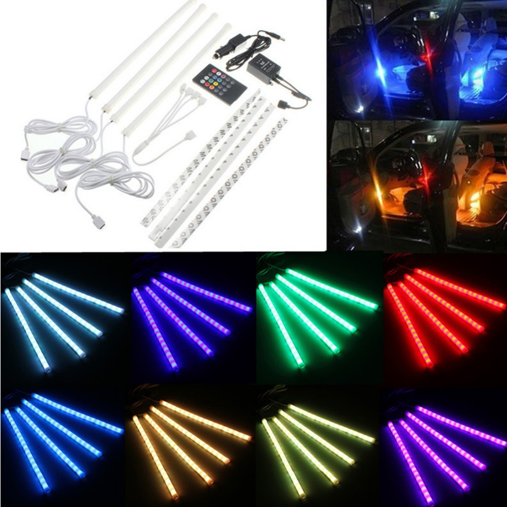 Hot 12V RGB 5050 SMD Led Strip Lights Music Control Car Light Interior Decoration Flexible Lamp With Remote Control<br><br>Aliexpress