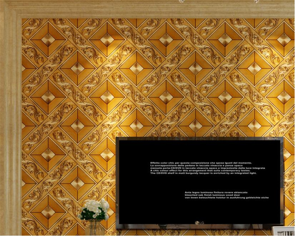 Beibehang Simple gold foil golden yellow diamond lattice glowing wallpaper KTV living room bar aisle ceiling roof 3d wallpaper<br>