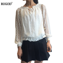 2017 Women Lace Shirts Body Crochet Ukraine Tunic Kimono Full Sleeve Blouse Female O-neck Slim Hallow Out Pullover Shirt Pattern(China)