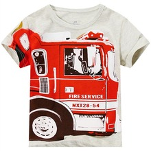 Baby Boy Tshirts Children Short Sleeve T-shirt Fire Truck Summer T-shirt Suit Kid Boy Full Cotton Short-sleeve T-shirts Clothes