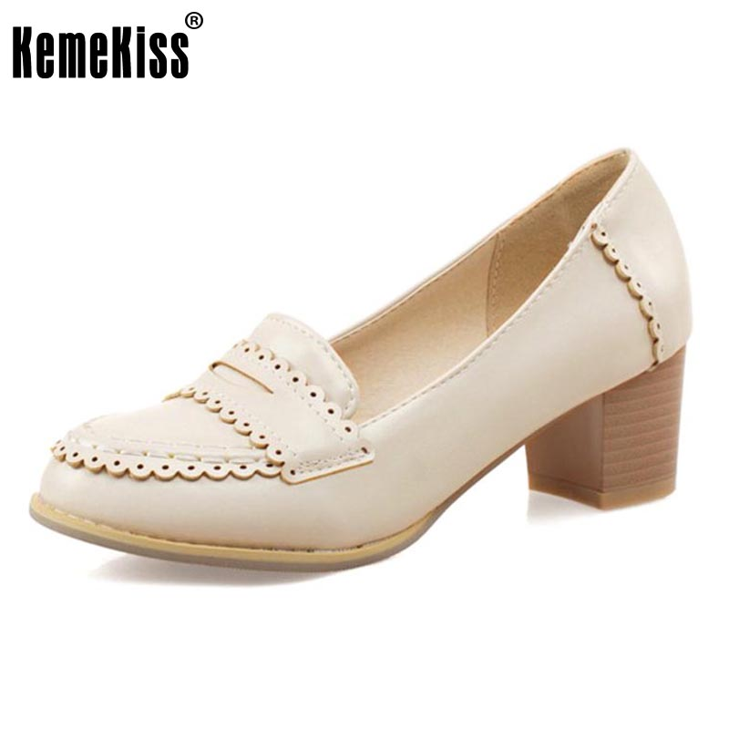 KemeKiss Size 32-43 Ladies Thick High Heels Shoes Round Toe Vintage Pumps Women Concise Office Lady Elegant Daily Party Footwear<br>