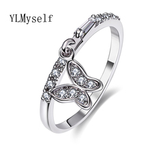 Lovely butterfly rings for women Cheap China wholesale lot anel feminino aneis bague zirconia crystal Fashion White Trendy ring(China)