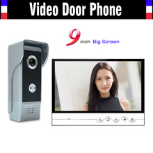 9 inch big monitor video intercom system video door phone doorbell doorphones kit IR night vision Aluminum Alloy Camera Doorbell