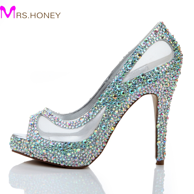 Spring Summer New Arrival Women High Heels Rhinestone Glitter AB Color Crystal Bridal Shoes Peep Toe Mesh Lace Wedding Shoes<br><br>Aliexpress
