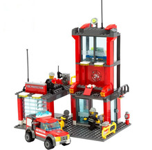 City Fire Station Building Blocks playmobil Truck Model With Firefighter Construction Bricks Toys best gifts for Children