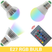 1PCS 3W 5W RGB E27 E14 GU10 MR16 LED Bulb Light Stage Lamp 16 Colors with Remote Control Led Lights for Home AC 85-265V RGB LAMP