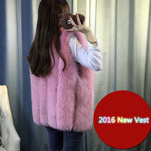 2016 New autumn winter vest women fox fur vest fashion Middle-long artificial fur coat Colete Feminino Plus size 4XL