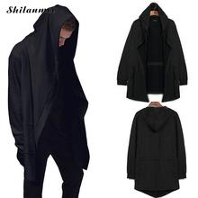 2017 Casual Men's Hooded Black Gown Sudaderas Hombre Hip Hop Hoodies Sweatshirts long Sleeves Jackets mens hooded cloak Coat(China)