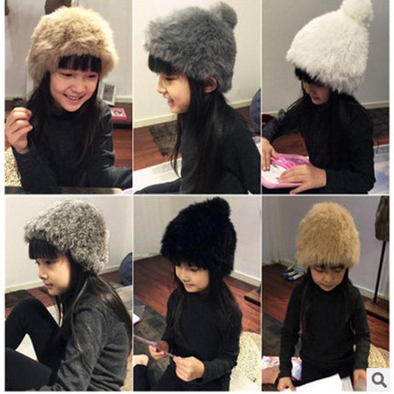 Hot Sale Children Rabbit Fur Hat Cap For Girs Women New Brand Thicken Female Cap Winter Knitted Real Nature Rabbit Fur HatОдежда и ак�е��уары<br><br><br>Aliexpress
