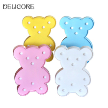 DELICORE Pretty Cute Bear Cartoon Animal Night Light Baby Room Sleeping Light Bedroom Desk Lamp Night Lamp Best for Gifts S088