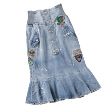 Summer Ladies Designer Elastic High Waisted Embroidery Denim Trumept Skirt , Spring Women Printed Stylish Mermaid Jeans Skirts
