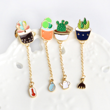 Cartoon Cactus Potted Plant Thermometer Water Kettle Rake Metal Brooch Pins Chain Button Pin Denim Jacket Pin Badge Gift Jewelry(China)