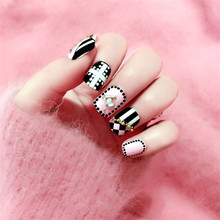 Nail art products Fake nails patch nail fashion process 3 d nail patch 24 pieces of wholesale C9(China)