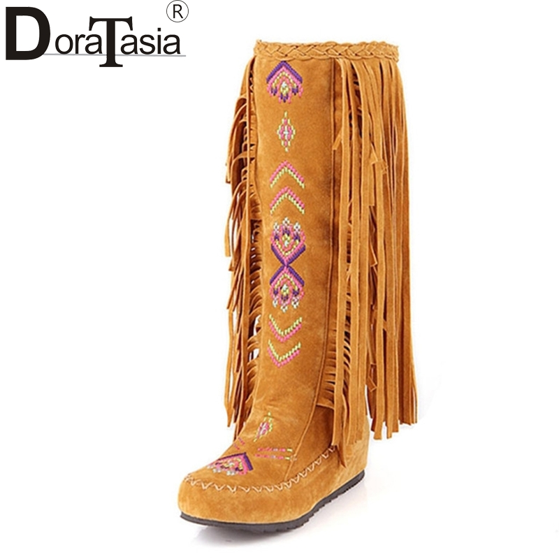 DoraTasia Chinese Stylish Embroidery Big Size 34-48 Add 2 Kinds Fur Women Shoes Tassels Autumn Winter Boots Fashion Long Boots<br>