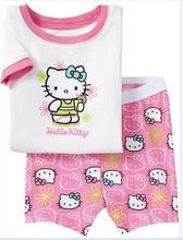 HOT-SELLING! hello kitty cotton baby pajamas,kids short sleeves girls cotton pyjamas Free shipping