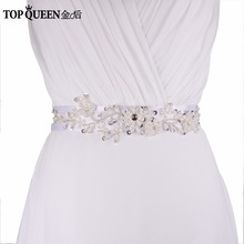 Buy TOPQUEEN S46 Stcok Free Handmade Elegant Pearl Beading Accessories Bridal Dresses Sashes Sequined wedding belt for $8.99 in AliExpress store