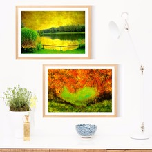 Green Artwork Tree And River Canvas Art Print Painting Poster Wall Pictures For Room Home Decorative Bedroom Decor No Frame(China)
