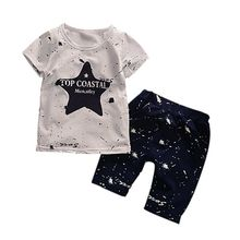 Summer Children Set Fashion Star Print Short Sleeve Top + Solid Cotton Dot Pants Outfits Baby Clothes Sets
