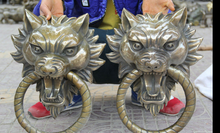 "zhmui88006225<<13.5"" Chinese Copper House Gate Wolf Beast Head Mask Statue Door Knocker Pair(China)"