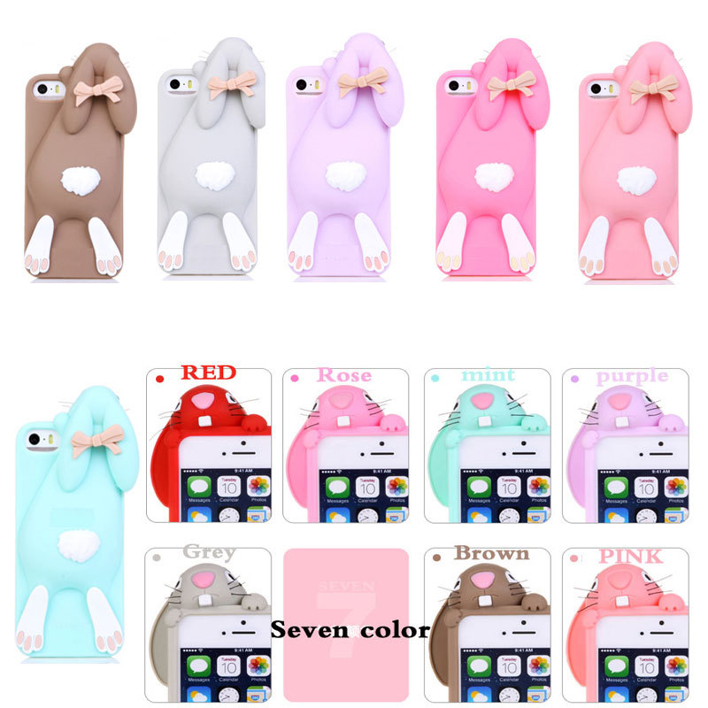 High Quality Cartoon Soft Cute Silicone 3D Rabbit Case For iPhone 7 5 5S SE 4 4S 6 6S 7 Plus Lovely 3D Rabito Phone Back cover(China (Mainland))