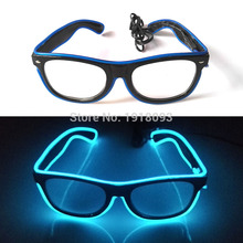 Wholesale 100PC/Lot Fashion Bright EL wire Neon LED Glasses Rave Costume glasses Novelty Light For Carnival,Dance,Festival,Party