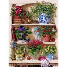 Warm Home Flower On The Shelf Diamond Embroidery Diy Diamond Painting Cross Stitch Mosaic Picture Pattern Full Rhinestone BJ236(China)