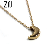 Fashion Stylish Simplicity Gold Silver Moon Pendant Necklace Women Jewelry Solid Chain Pendant Necklace(China)