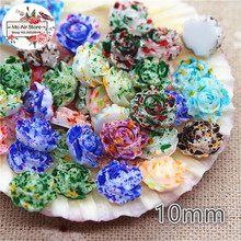 100PCS 10mm Beautiful Mixed Color rose Flower Resin Flowers Flatback Cabochon Scrapbooking DIY Phone Decoration