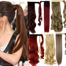 Local Warehouse Mega Thick Clip In Ponytail Hair Extensions Straight Wrap Pony Tail Women Lady Ponytails Black Brown Blonde Hair