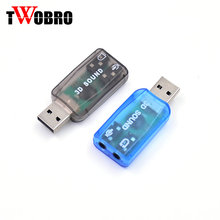 50 pcs Hot Virtual 5.1 USB 2.0 External Mic/Speaker Audio sound Card Adapter for PC Laptop. blue,black,green(China)