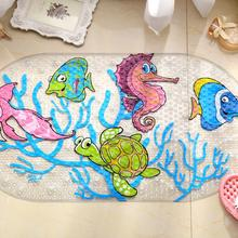 Cartoon Anti-Slip PVC Bath Mat With Suction Cups Seaworld Turtle Fish Carpet Used For Bathroom(China)