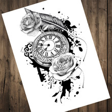 "HM-91 Vintage Tattoos Patterned Kraft Paper about ""Ancient wall clock"" Wall art living room wall sticker home decor"