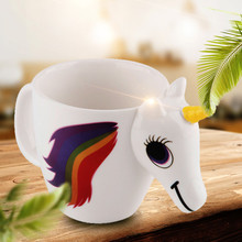 3d colour color changing magic unicorn ceramic heat sensitive coffee mug discoloration mill mugs for coffee(China)