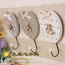 Korean cute love bear hook clothing store solid resin decoration linked to women's and children's clothes(China)