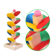 Wooden Tree Block Ball Run Track Game Colorful Leaves Educational Toy for Baby Kids Children Intelligence Wooden Baby Toys(China)