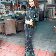 Free Shipping 2015 fashion Sexy collar sequin tight leak back pack hip fishtail dress long sleeve(China)