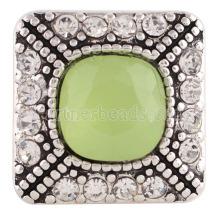 20MM Square snap Silver Plated with Green resin and clear rhinestones snaps jewelry KC6188