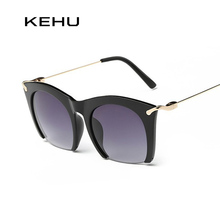 KEHU Brand half rim Sunglasses CAT EYE Sun shades lenses Half frame goggles Women Tinted Sun wear Black Party sunglass Metal(China)