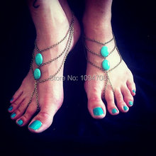 SC-080 Antique bronze oval beads Barefoot Sandals Gypsy Hippie Vintage look Beach wedding foot jewelry slave Anklets