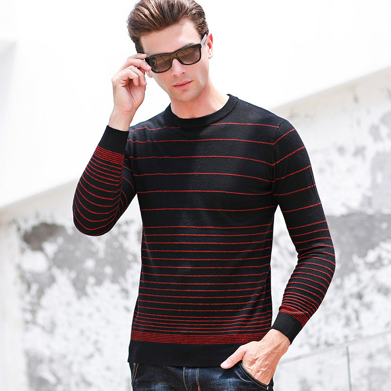 mens new arrival Pure Wool Jacquard Stripe Men Sweater Autumn Winter Computer Knitted Casual O-neck Pullovers size SM LXL XXL