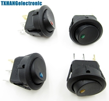 4PCS LED Dot Light Car Auto Boat 3Pin Round Rocker ON/OFF Toggle SPST Switch 12V(China)