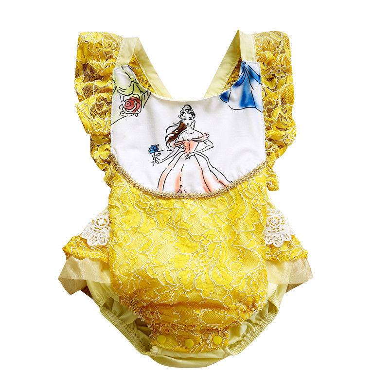 Toddler Baby Girls Beauty Beast Romper Jumpsuit Outfts Sunsuit Infant Newborn Girl Princess Print Rompers Patchwork